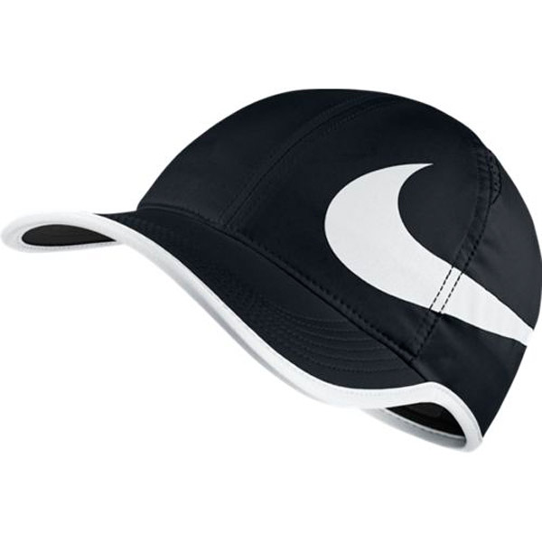 48dfbc54fd6 Nike Aerobill Featherlight Swoosh Hat Black White 864100-011 - The ...