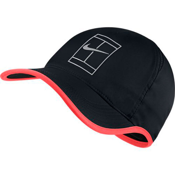 50c595f1500 Nike Court Aerobill Featherlight Tennis Hat Black Hot Punch 864105-015.   
