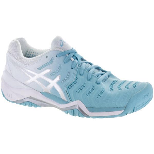 c2fcc80dbb4f ASICS Gel Resolution 7 Women s Tennis Shoe Porcelain Blue Silver White  E751Y-1493. Sale!   