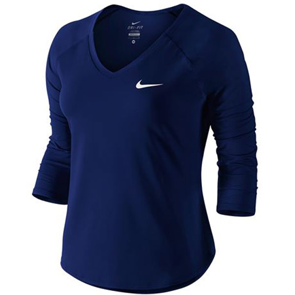 36080964fee4a Nike Women s Pure 3 4 Sleeve Top Blue Void 728791-478 - The Tennis Shop