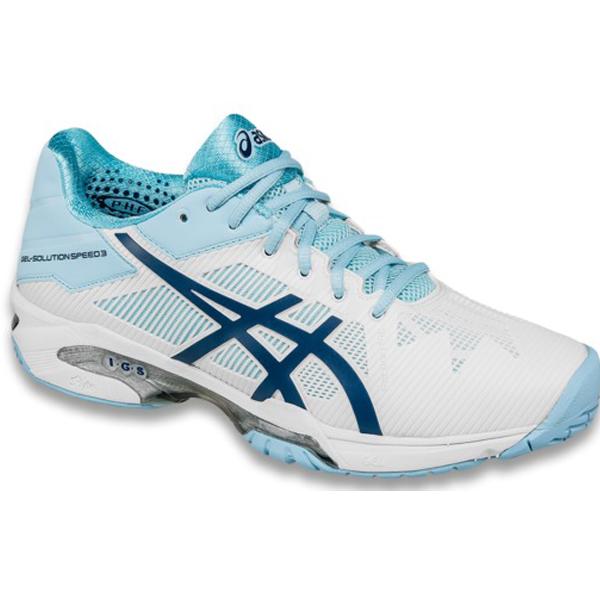 Asics Women's Gel Solution Speed 3 Tennis Shoe White/Crystal Blue  Sale! ?;  ?