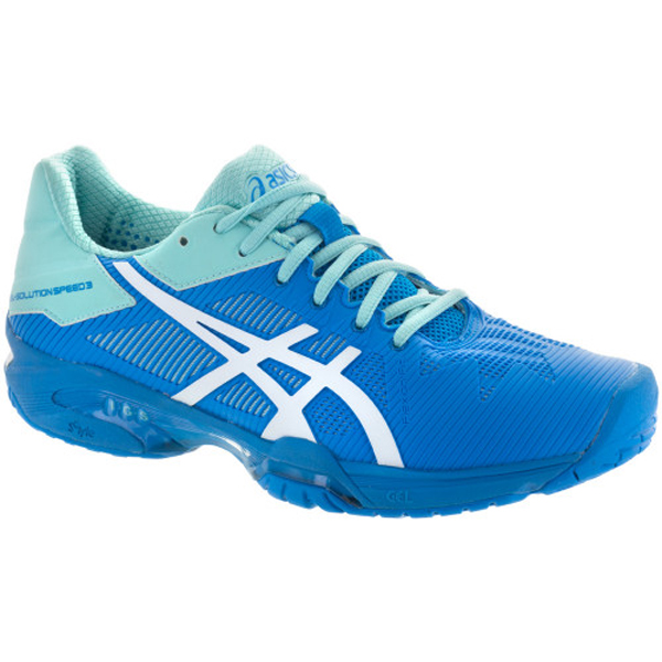1ae99a2978e7 ASICS Gel Solution Speed 3 Women s Tennis Shoe Aqua Splash White Diva Blue.  Sale!   