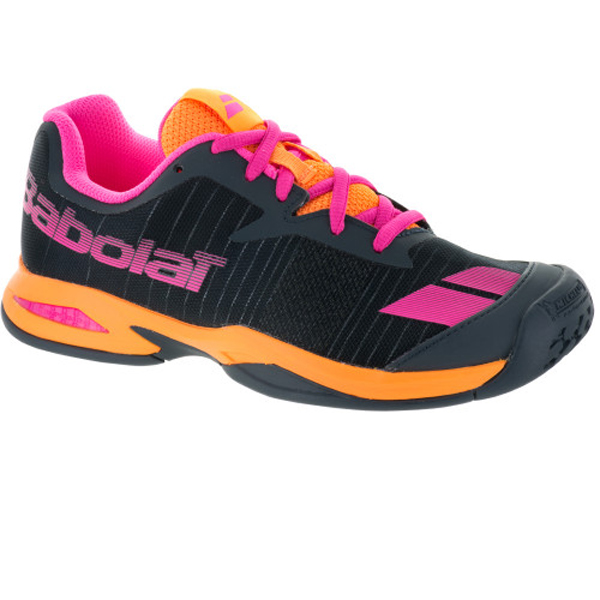 Babolat Jet All Court Junior Tennis Shoe Grey Orange Pink - The ... 1e335866a06