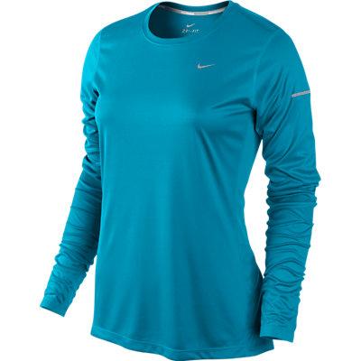 Nike Women's Miler Long Sleeve Top Blue Lagoon ...